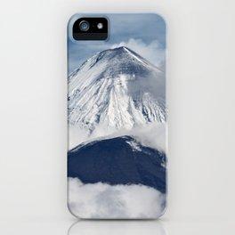 Stunning landscape view of eruptions active volcanoes of Kamchatka Peninsula iPhone Case