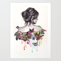 woman Art Prints featuring Butterfly Effect by KatePowellArt