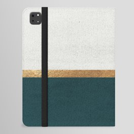 Deep Green, Gold and White Color Block iPad Folio Case