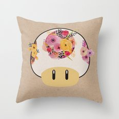 Mushroom in Bloom Throw Pillow