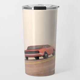 Fast muscle car, speeding through the desert Travel Mug