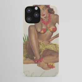 Hawaiian Hula Maiden Vintage Travel Poster iPhone Case