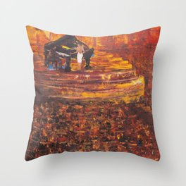 Piano Player with Singer Throw Pillow