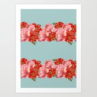 vintage floral Art Prints featuring vintage floral by cardboardcities