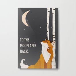 """To The Moon & Back"" Cute Fox Looking At The Moon Wall Art For Children Metal Print"
