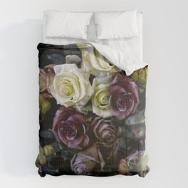 Roses dark moody Old Masters style floral pattern Comforters