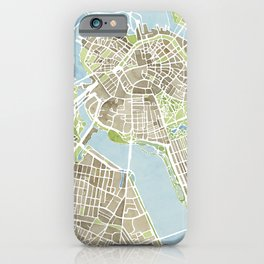 Boston Sepia Watercolor Map iPhone Case