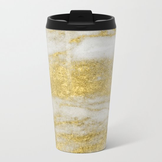 Marble - Glittery Gold Marble and White Pattern Metal Travel Mug