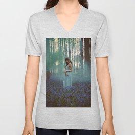 Girl in forest 2 Unisex V-Neck