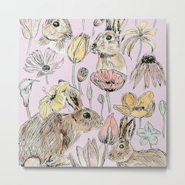 rabbits and flowers with color Metal Print