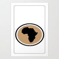 Africa White Round Art Print