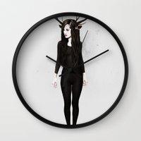 abigail larson Wall Clocks featuring Abigail Day by Ruben Ireland