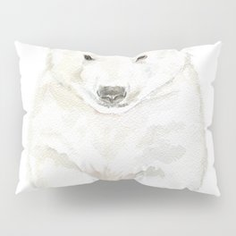 Polar Bear Cub Watercolor Painting Pillow Sham