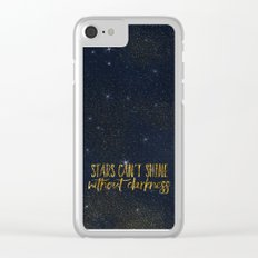 Stars- Darkness - sparkling gold glitter night typography 1 Clear iPhone Case