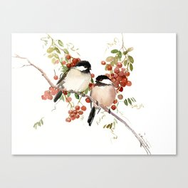 Chickadee Bird Vintage Bird Artwork, two birds, chickadees woodland design Canvas Print