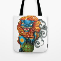 foo fighters Tote Bags featuring Foo Dog by missfortunetattoo