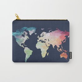 Navy Painted Map Carry-All Pouch
