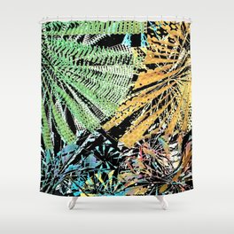 Tropical forest abstract digital painting Shower Curtain