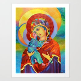 Virgin Mary Painting Madonna and Child Jesus icon Modern Catholic Religious Art Print