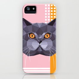 British Shorthair on a Memphis style iPhone Case