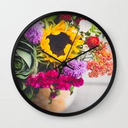 Rustic Flowers Wall Clock