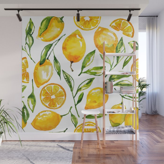 lemon watercolor Wall Mural
