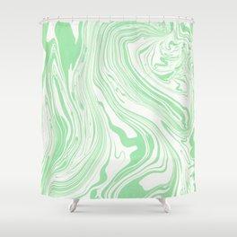 Pastel green & White marble Swirls Shower Curtain