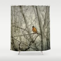 robin hood Shower Curtains featuring Robin by Dorothy Pinder