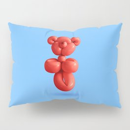 Chilli red teddy bear party balloon on sky blue Pillow Sham