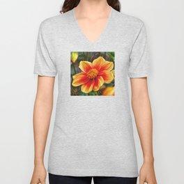 Orange Flower, DeepDream style Unisex V-Neck