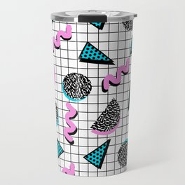 It's Casual - memphis throwback retro neon squiggle grid shapes geometric black and white modern art Travel Mug