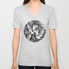 Stylish Swans in Monochrome Black and White Unisex V-Neck