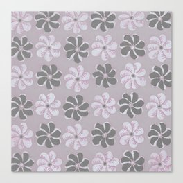 Floral design Black, Gray & Light Fuchsia Flowers Allover Print Canvas Print