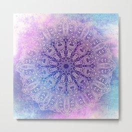 big paisley mandala in light purple Metal Print