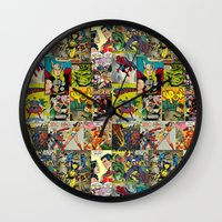comic book Wall Clocks featuring COMIC by Vickn