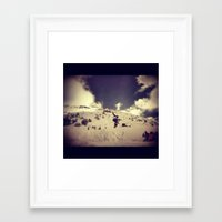 snowboarding Framed Art Prints featuring Snowboarding by Zumazan