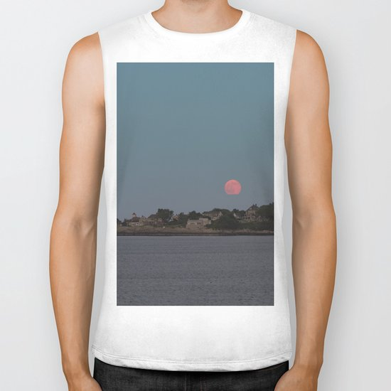 Full Strawberry Moon Rising over Rockport Biker Tank