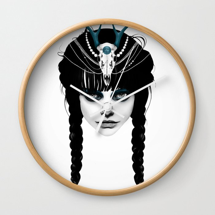 Wakeful Warrior - In Blue Wall Clock