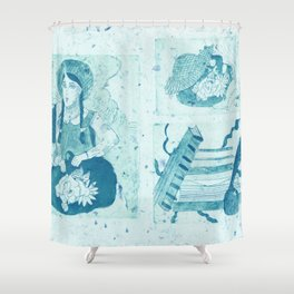 Anne of Green Gables Blue Shower Curtain