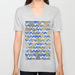 Elegant geometric faux gold floral blue zigzag stripes Unisex V-Neck
