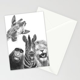 Black and White Jungle Animal Friends Stationery Cards