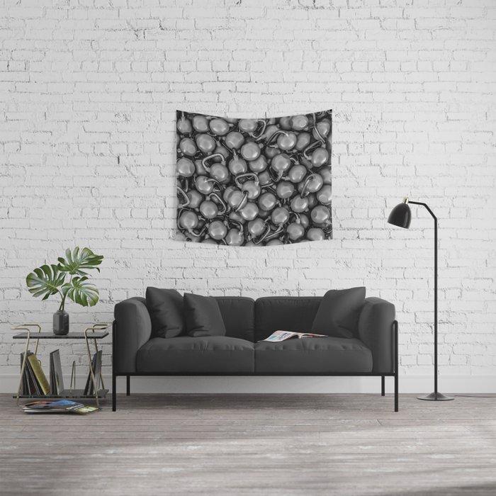 Kettlebells B&W Wall Tapestry