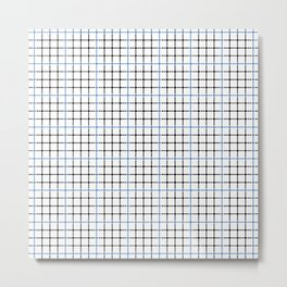 Dotted Grid Weave Blue Black Metal Print