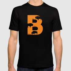 B is for Bison - Animal Alphabet Series MEDIUM Mens Fitted Tee Black