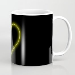 Yellow Neon Valentines Love Heart Coffee Mug