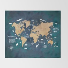 World Map Oceans Life blue Throw Blanket