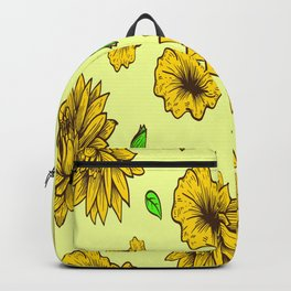 Floral Pattern Nature Yellow Flower Botanical Backpack