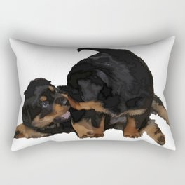 Rottweiler Puppies Playing Vector Isolated Rectangular Pillow
