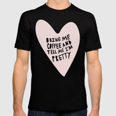 Bring me coffee and tell me I'm pretty - hand drawn heart LARGE Mens Fitted Tee Black