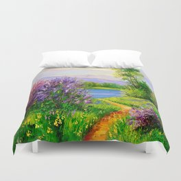 Lilac bloom on the river Duvet Cover
